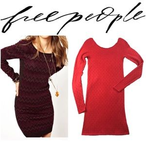 Red Bodycon Dress by Free People Long Sleeve D128